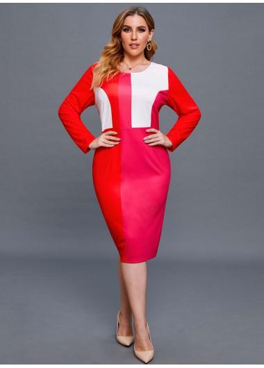Contrast Long Sleeve Plus Size Dress - 2X