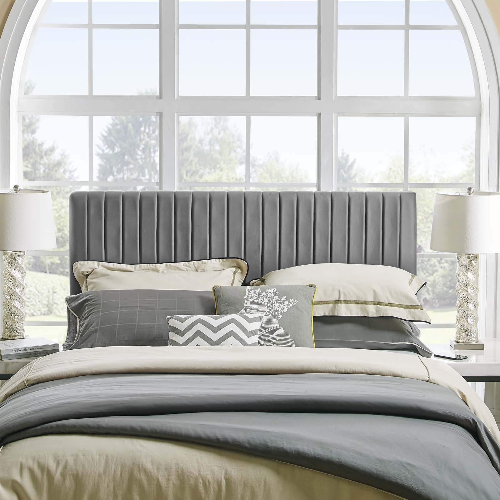 Keira Full / Queen Performance Velvet Headboard in Gray