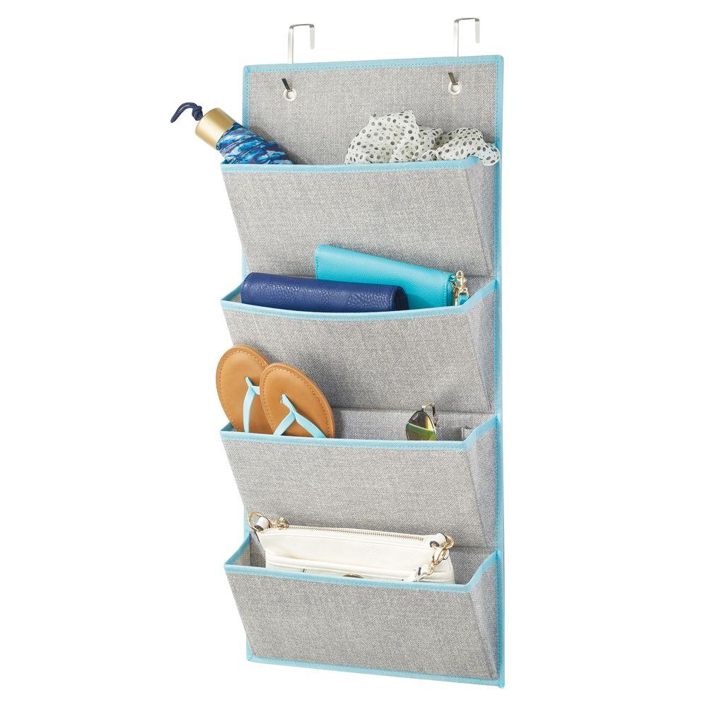 4 Pocket Fabric Over Door Hanging Closet Storage Organizer in Gray/Teal, 3
