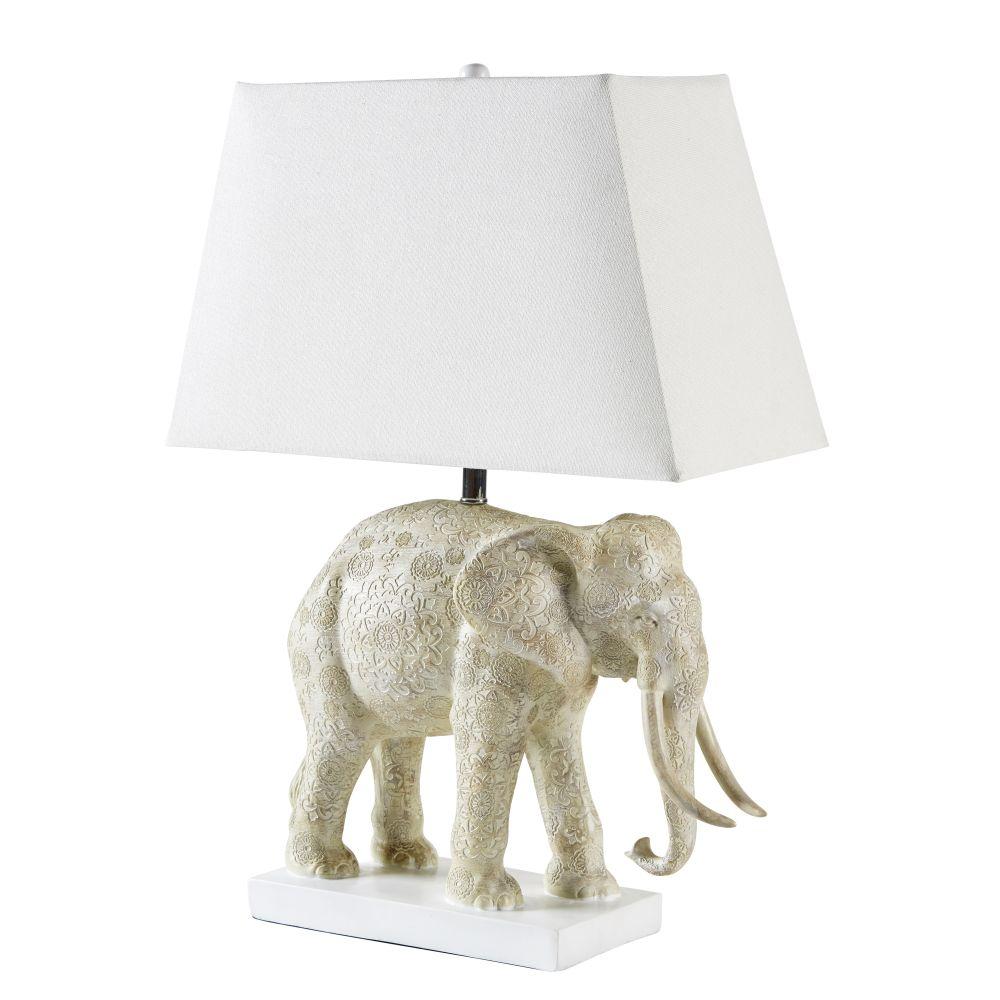 Geschnitzte Elefanten-Lampe mit beigem Lampenschirm