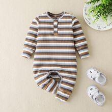 Strick T-Shirt Jumpsuit mit Streifen