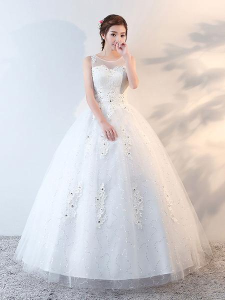 Milanoo Princess Ball Gown Wedding Dresses Lace Applique Beaded Floor Length Ivory Bridal Dress