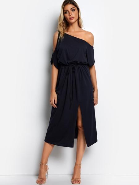 Yoins Dark Blue One Shoulder Slit Hem Dresses