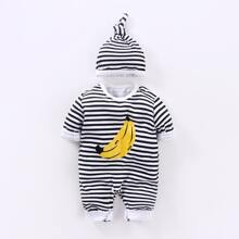 Baby Boy Striped And Banana Print Jumpsuit With Hat