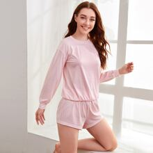 Plaid Drop Shoulder Pajama Set