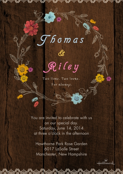 Wedding Invitations Flat Glossy Photo Paper Cards with Envelopes, 5x7, Card & Stationery -Wildflower Wreath Invitation