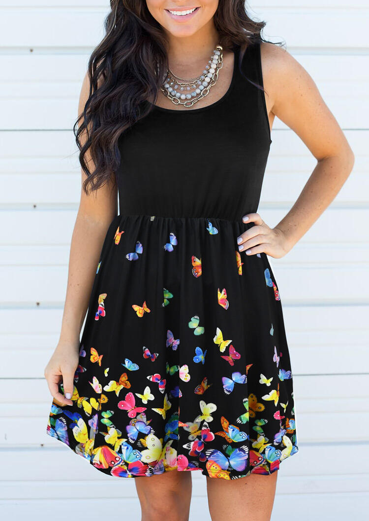 Butterfly Splicing Ruffled Mini Dress without Necklace - Black