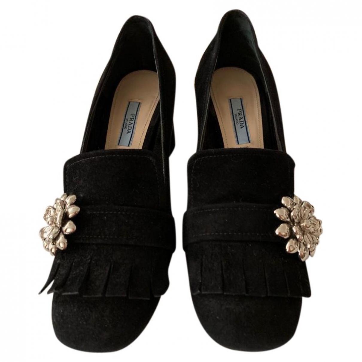 Prada \N Black Suede Heels for Women 38 EU