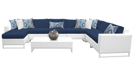 Miami MIAMI-09b-NAVY 9-Piece Wicker Patio Furniture Set 09b with Corner Chair  4 Armless Chairs  Ottoman  Coffee Table  Left Arm Chair and Right Arm