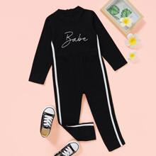 Toddler Girls Letter Graphic Side Tape Jumpsuit