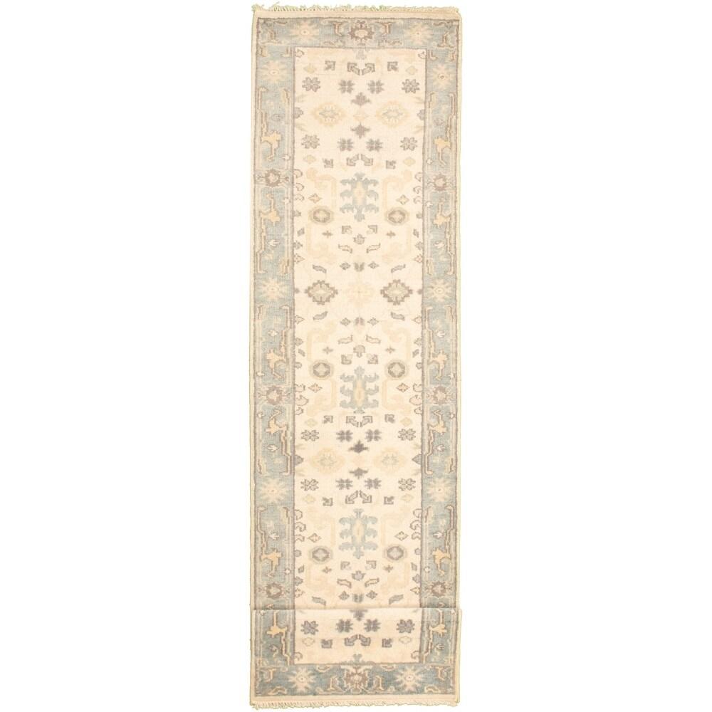 ECARPETGALLERY Hand-knotted Royal Ushak Beige Wool Rug - 2'7 x 12'0 (Beige - 2'7 x 12'0)