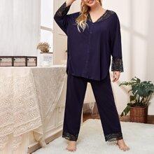 Plus Contrast Lace Button Front Top & Pants PJ Set