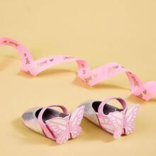 Baby Maedchen Flats mit Schmetterling Dekor und Klettverschluss