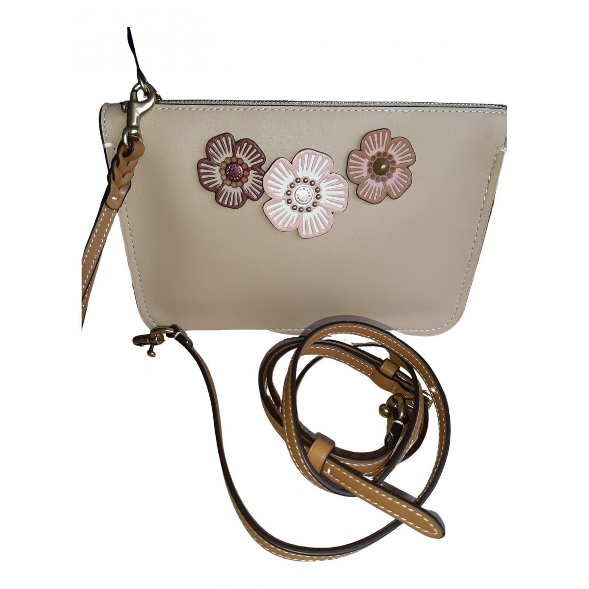 Coach N Beige Leather handbag for Women N