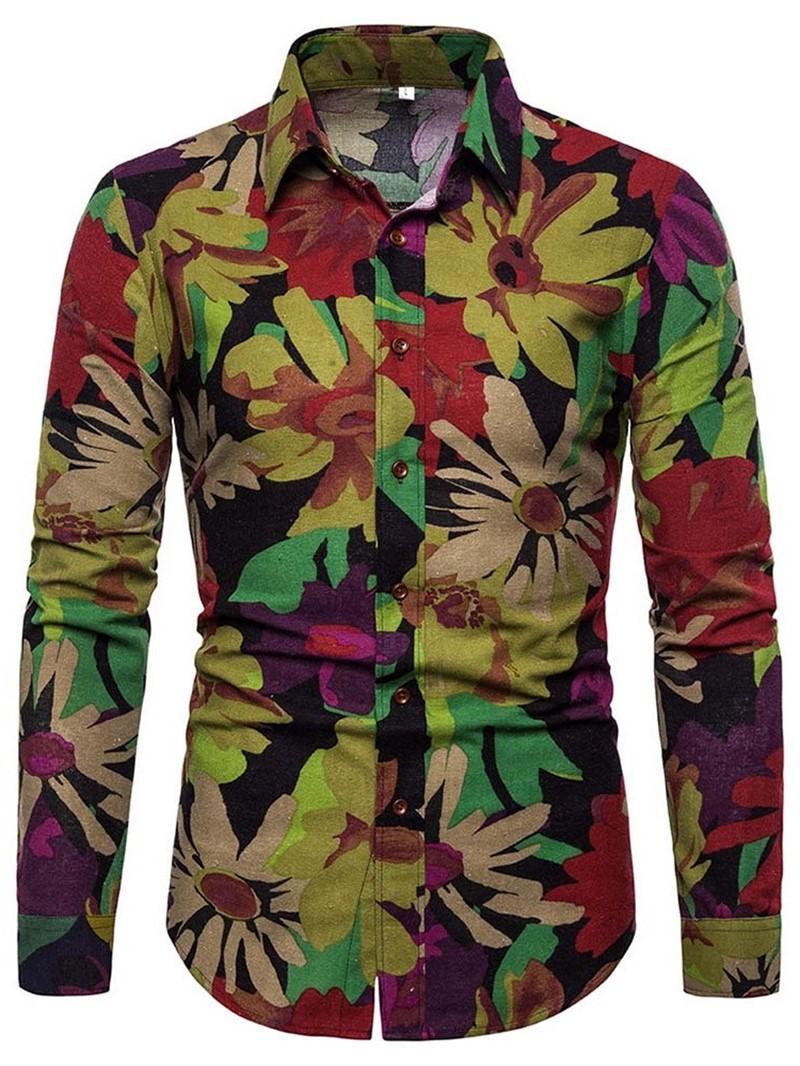 Ericdress Button Casual Floral Mens Slim Shirt