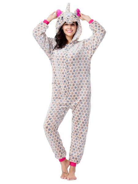 Milanoo Disfraz Halloween Kigurumi Onesie Pijamas Starlet Unicornio Blue Flannel Easy Toilet Jumpsuit Disfraces de Kigurumi Carnaval Halloween