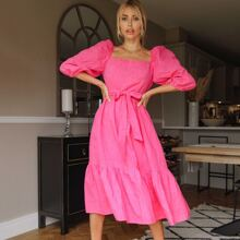 Square Neck Puff Sleeve Belted Dress