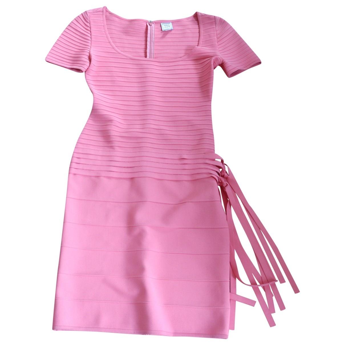 Herve Leger \N Kleid in  Orange Viskose