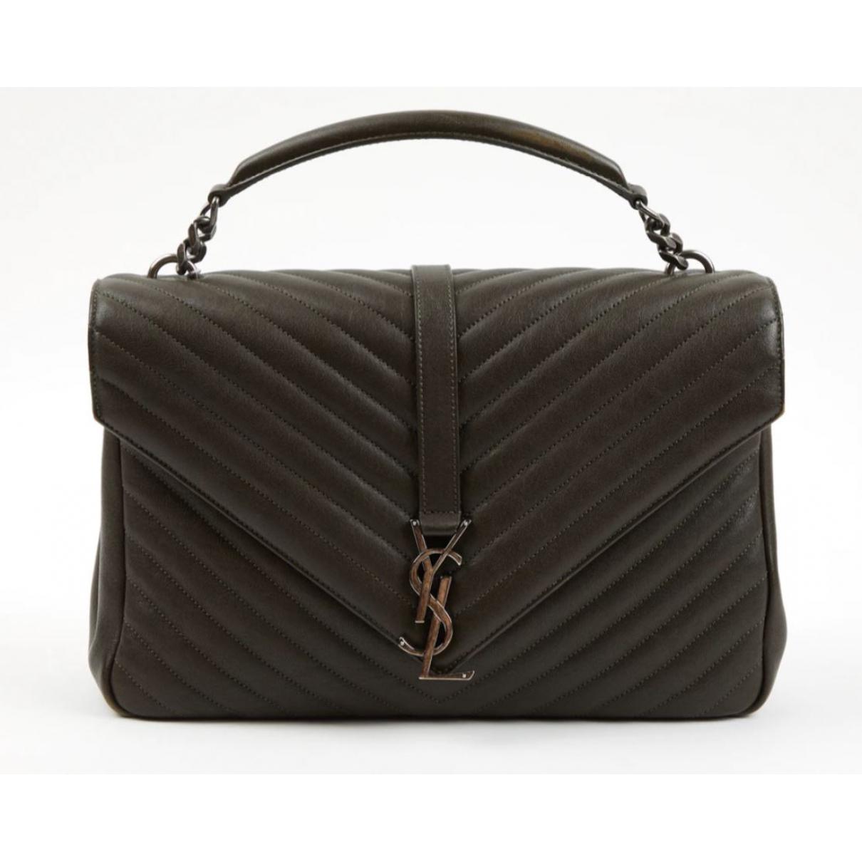 Saint Laurent Collége monogramme Khaki Leather handbag for Women \N