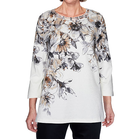 Alfred Dunner Classics Womens Round Neck 3/4 Sleeve Knit Blouse, Petite Medium , Beige