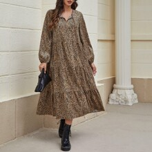 Tie Neck Leopard Smock Dress