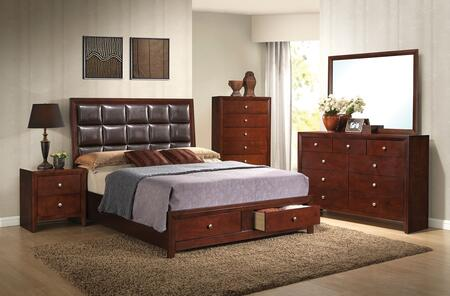 Ilana Collection 24590Q5PC Bedroom Set with Queen Size Bed  Dresser  Mirror  Chest and Nightstand Brown Cherry