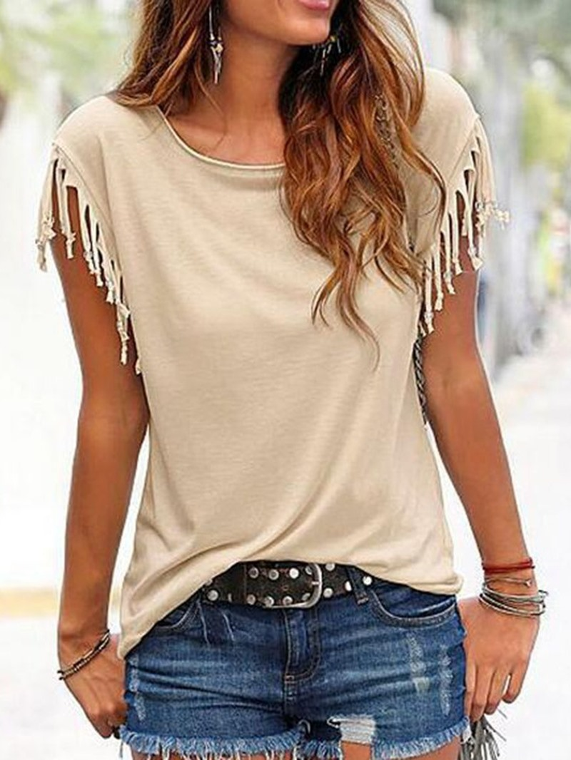 Ericdress Tassel Round Neck Plain Short Sleeve T-Shirt