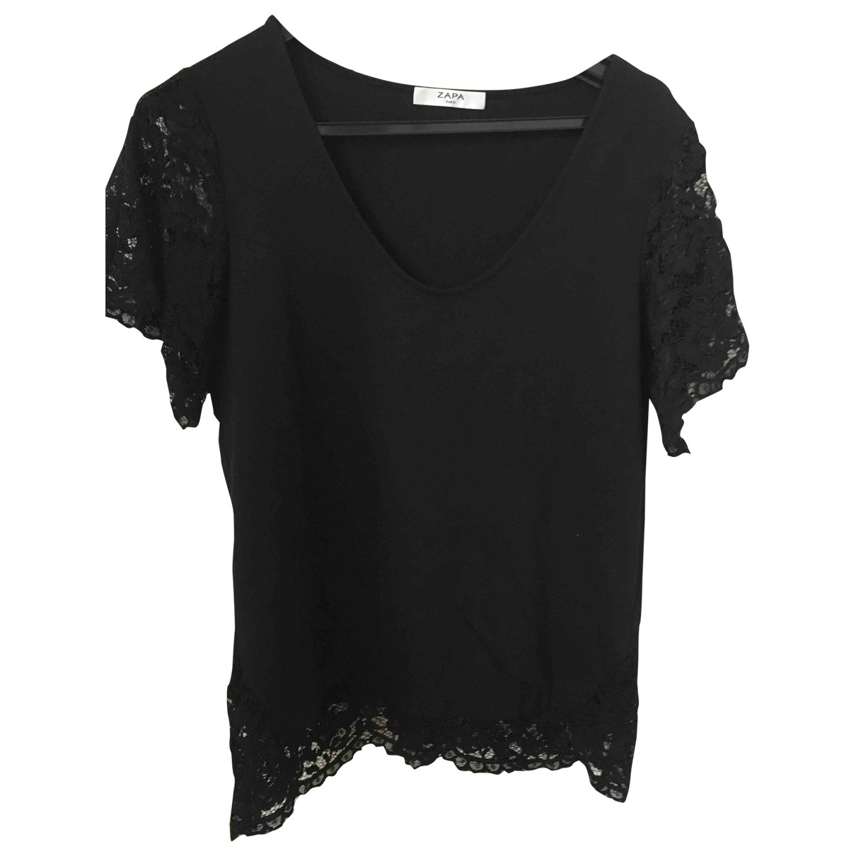 Zapa - Top   pour femme en coton - noir