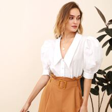 Peak Collar Puff Sleeve Buttoned Front Blouse