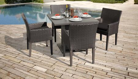 Belle Collection BELLE-SQUARE-KIT-4DCC-BLACK Patio Dining Set with 1 Table   4 Arm Chairs - Wheat and Black