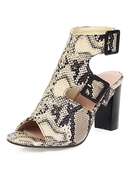 Milanoo Peep toe botas de serpiente de impresion gruesos del talon botines sin respaldo