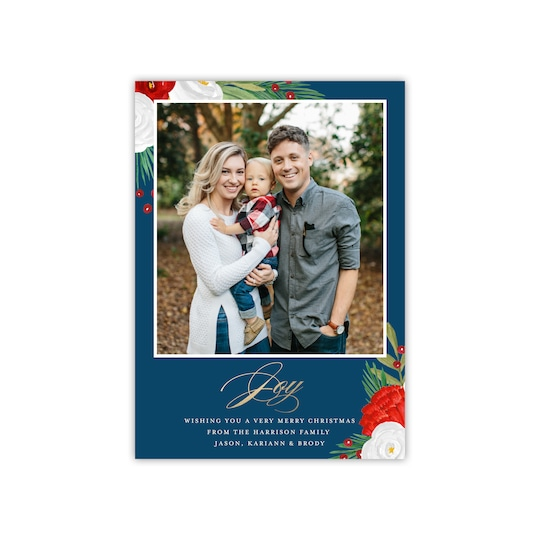 20 Pack of Gartner Studios® Personalized Floral Joy Flat Holiday Photo Card in Navy Blue | 5