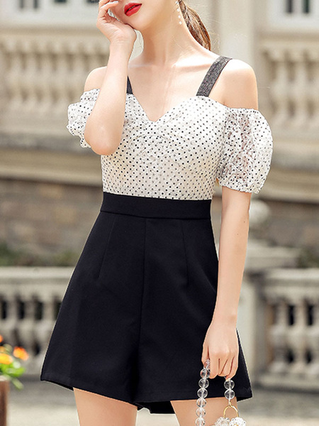 Milanoo White Polka Dot Bateau Neck Short Sleeves Layered Spaghetti Straps Wide One Piece Outfit Summer