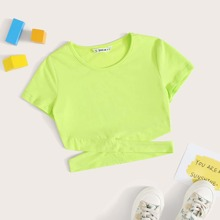 Camiseta de niñas bajo con tiras cruzadas de color neon
