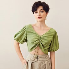Puff Sleeve Ruched Drawstring Front Crop Top