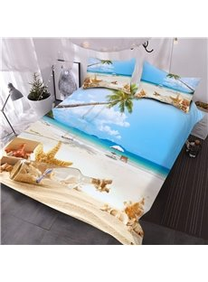 Starfish and Drift Bottle Printed 3-Piece 3D Comforter Sets Ultra-soft Microfiber No-fading Twin Full Queen King