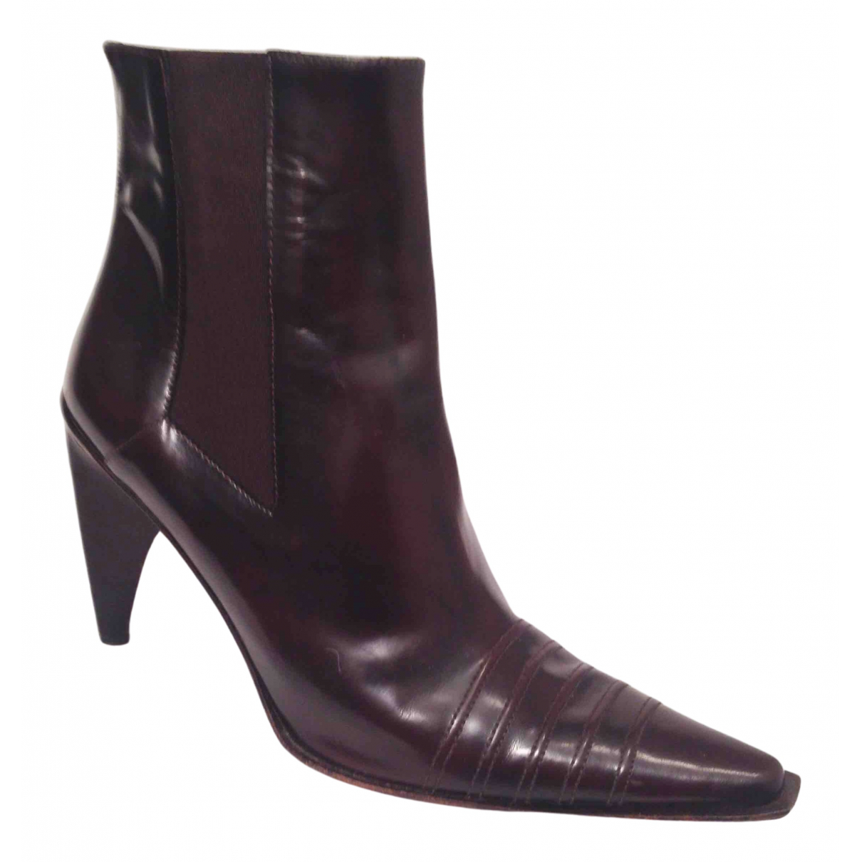 Non Signé / Unsigned \N Brown Leather Ankle boots for Women 39 IT