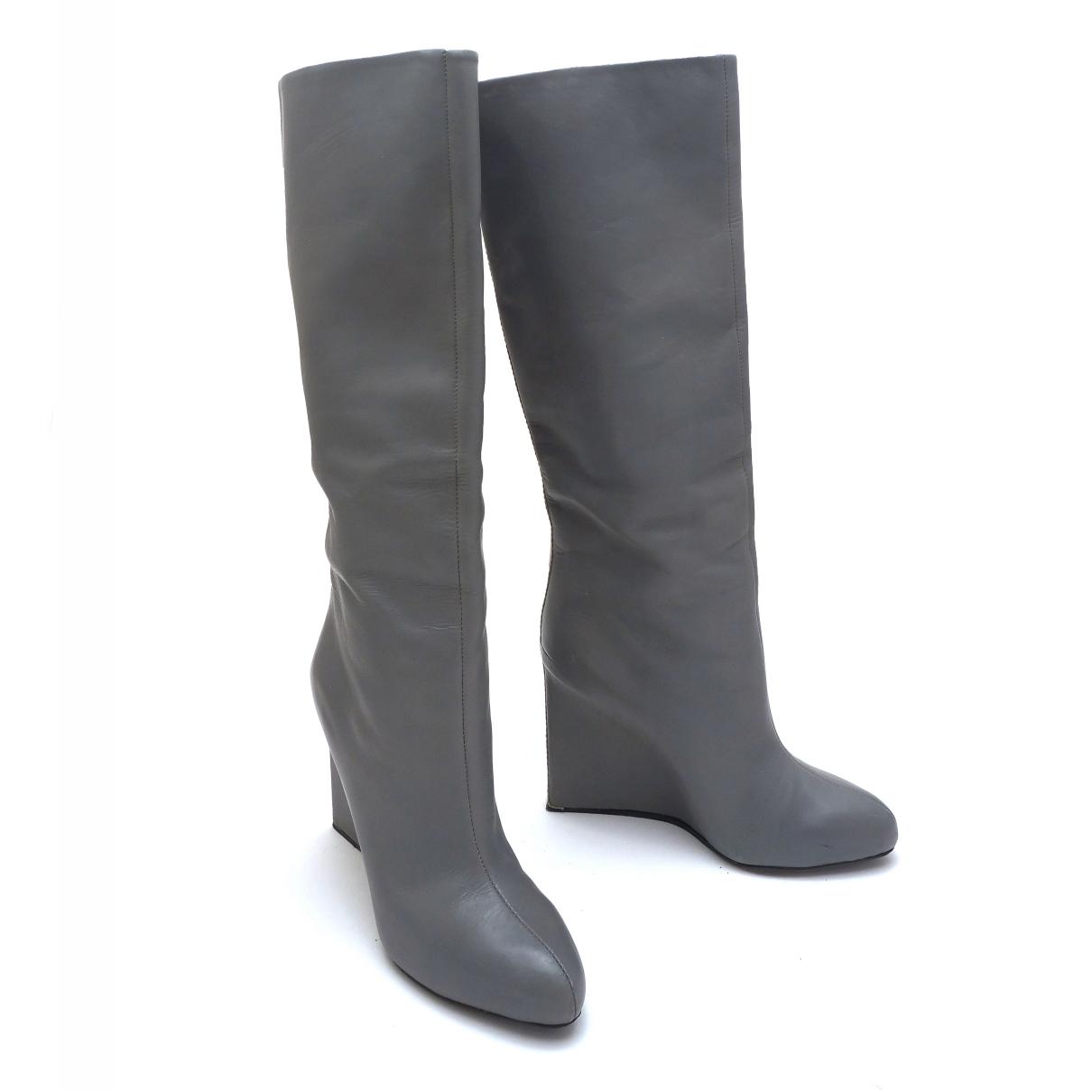Chloe - Bottes   pour femme en cuir - gris