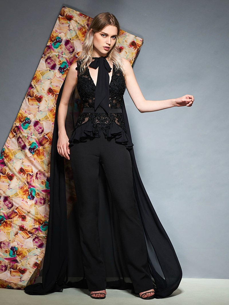 Ericdress Sheath V Neck Beaded Evening Jumpsuit With Cape
