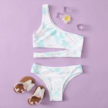 Maedchen Bikini Badeanzug mit Batik, Ausschnitt und einer Schulter frei