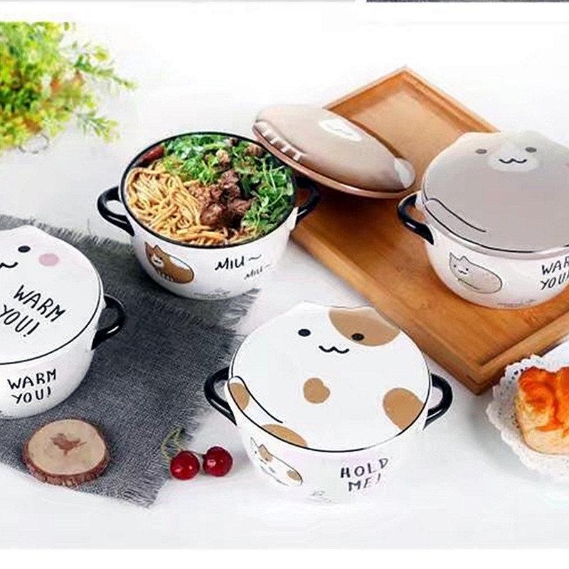 Cat Instant Noodle Bowl Fashion Ceramic Big Mouth Bowl Cartoon Couple Instant Noodle Bowl With Lid