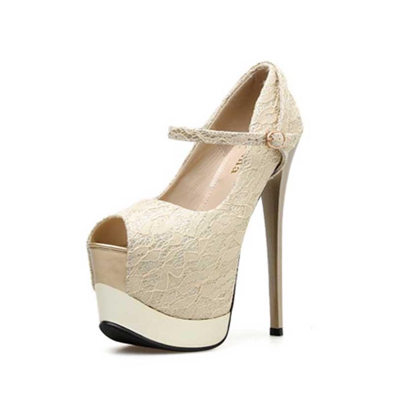 Ericdress Platform Stiletto Heel Peep Toe Buckle Women's Prom Shoes