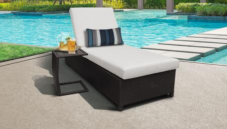 Barbados Collection BARBADOS-W-1x-ST-ASH Patio Set with 1 Chaise with Wheels  1 Side Table - Wheat and Ash