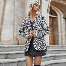 Mantel mit Zebra Streifen und offener Vorderseite