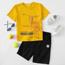 Boys Dinosaur and Slogan Graphic Top & Patched Detail Shorts Set