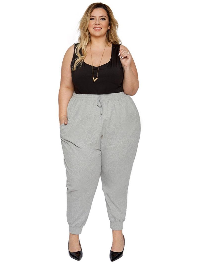 Ericdress Plain Pocket Slim Full Length Pencil Pants Casual Pants