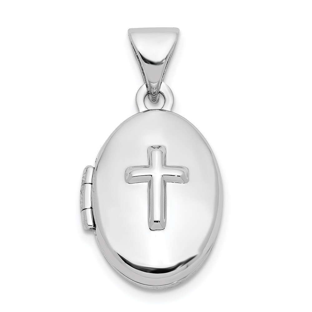 Sterling Silver Cross 16mm Oval Locket with 18-inch Cable Chain By Versil (White - 18 Inch)