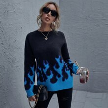 Drop Shoulder Fire Pattern Sweater