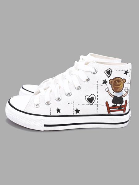 Milanoo Zapatos de lona para mujer con punta redonda blanca con cordones y zapatos de skate en la parte superior impresa