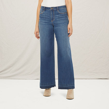 a.n.a Womens High Rise Wide Leg Jean, 8 , Blue